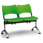 Plastová lavica zelená Visio - podnož chrómovaná