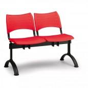 Plastová lavice červená Visio - podnož černá
