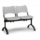 Plastová lavice šedá Visio - podnož černá