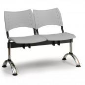 Plastová lavice šedá Visio - podnož chromovaná