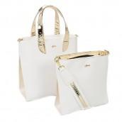 SET kabelka elegantná a crossbody, bielo zlatá