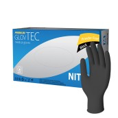 Vyšetřovací rukavice Glovtec nitril, nepudrované, černé, 100 ks