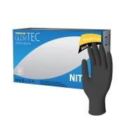 Vyšetrovacie rukavice Glovtec nitril, nepúdrované, čierne, 100 ks